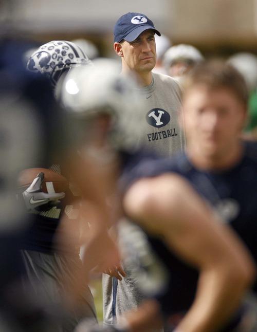 Trent Nelson     The Salt Lake Tribune BYU offensive coordinator Brandon Doman at football practice in Provo.