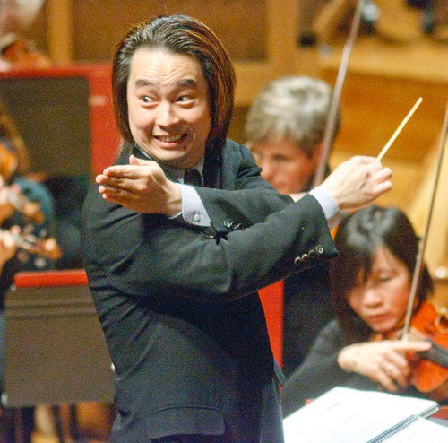 Paul Fraughton  |  The Salt Lake Tribune Utah Symphony's assistant conductor David Cho explains, in an animated fashion, certain aspects of classical music at a concert for fifth-grade students in 2009.