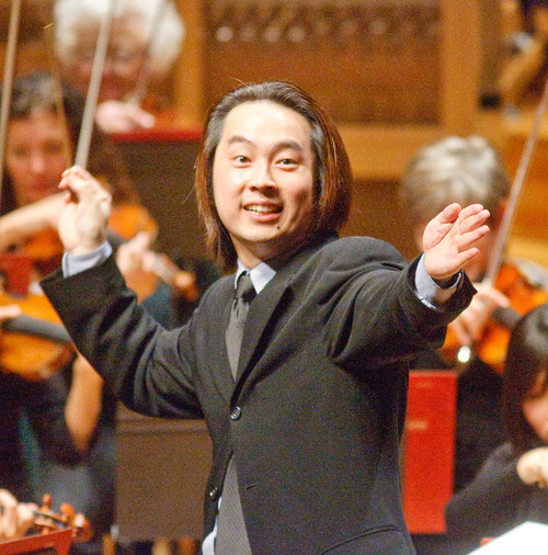 Paul Fraughto  |  The Salt Lake Tribune Utah Symphony's assistant conductor David Cho explains, in an animated fashion, certain aspects of classical music at a concert for fifth-grade students in 2009.