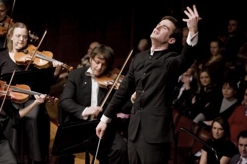 Courtesy Photo Vladimir Kulenovic conducting the Belgrade Philharmonic at the Kolarac National Philharmonic Hall.