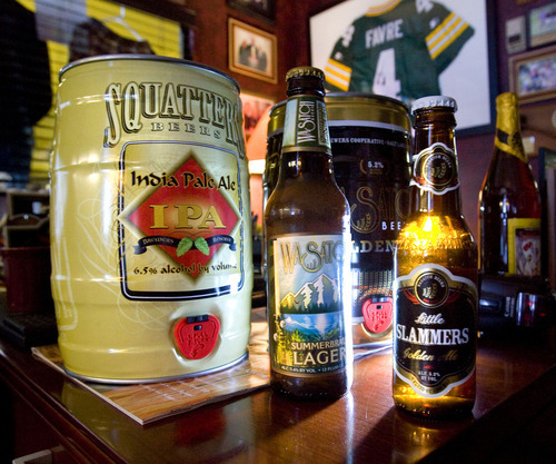 Steve Griffin  |  The Salt Lake Tribune The Chubby holds the equivalent of 14, 12-ounce bottles, and unlike brown glass can be widely recycled. And although it is twice the size of a legal glass growler container, the Chubby holds less alcohol than a 24-pack sold at grocery stores.