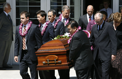 Francisco Kjolseth  |  The Salt Lake Tribune Pallbarers carry the casket of Chieko Nishimura Okazaki, the first non-Caucasian member of any LDS general board or presidency, following services at the LDS Holladay South Stake Center on Wednesday.