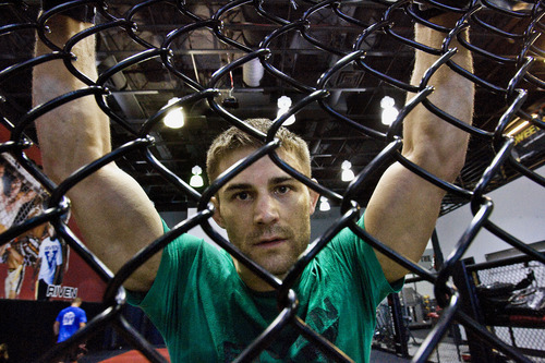 Scott Sommerdorf  |  The Salt Lake Tribune Mixed Martial Arts fighter Rad Martinez of West Jordan takes a break from  his MMA training session at the Riven Academy in Orem, Thursday, August 11, 2011.