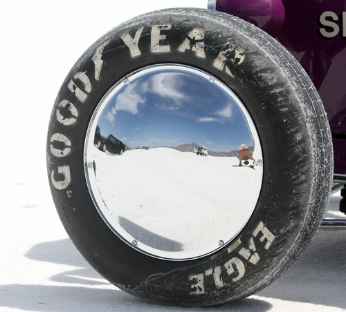 Rick Egan   |  The Salt Lake Tribune  Wheel from the Gerber Special, Springfield Illinois, on the Salt Flats, during Speed Week, at the Bonneville Salt Flats, Thursday, August 18, 2011.