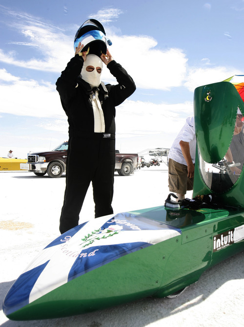 Rick Egan   |  The Salt Lake Tribune  Rick Pearson prepares for a run on the Salt Flats in his car