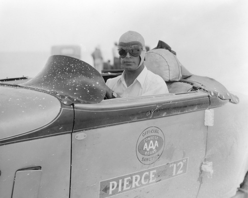 Racer Ab Jenkins in his 1933 Pierce-Arrow endurance land speed record racer on the Bonneville Salt Flats. The image is seen in the documentary