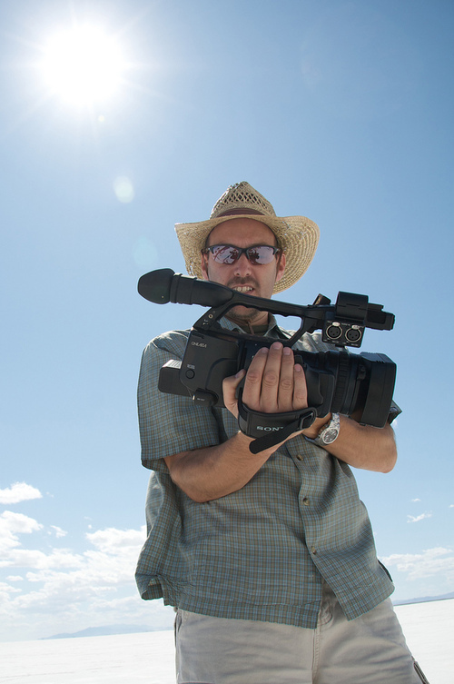 Director Curt Wallin, on the Bonneville Salt Flats during filming of the documentary