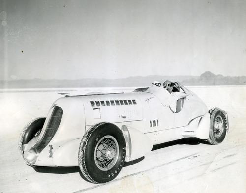 Tribune file photo In the Duesenberg Special race car, designed and built by Augie Duesenberg, Salt Lake City racer Ab Jenkins broke dozens of land speed records in 1935. Jenkins set more than a hundred records racing on Utah's Bonneville Salt Flats.