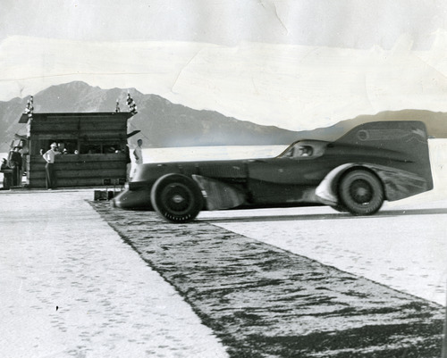 Tribune file photo A view of Ab Jenkins' race car as it zipped past the timing quarters on its 24-hour record-breaking run. Salt Lake's racing mayor held or shared between 140 and 150 world and American land speed records. He set 94 such marks entirely alone in runs without relief drivers.