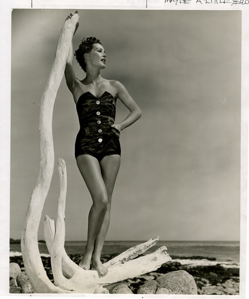 Salt Lake Tribune file photo  A model poses in a bathing suit in this fashion photo from The Salt Lake Tribune archives. The photo is dated from 1950.