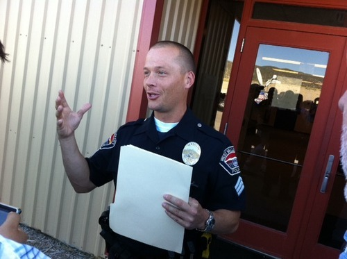 Trent Nelson  |  The Salt Lake Tribune  West Valley City public information officer Mike Powell prepares to address the media at the public safety building in Ely, Nevada, Friday, August 19, 2011.