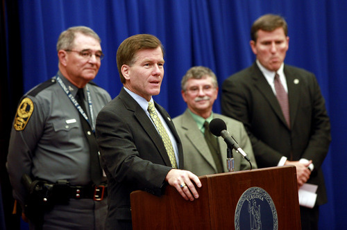 Virginia Gov. Bob McDonnell , front, and, from left, Va. State Police Superintendent Col. Steve Flaherty, Michael Kline, director of the Department of Emergency Services, and Va. Secretary of Transportation Sean Connaughton hold an earthquake news briefing on Tuesday, Aug. 23, 2011. One of the strongest earthquakes ever recorded on the East Coast shook buildings and rattled nerves from South Carolina to New England on Tuesday and forced the evacuations of parts of the Capitol, White House and Pentagon.  (AP Photo/Richmond Times-Dispatch, Eva Russo)