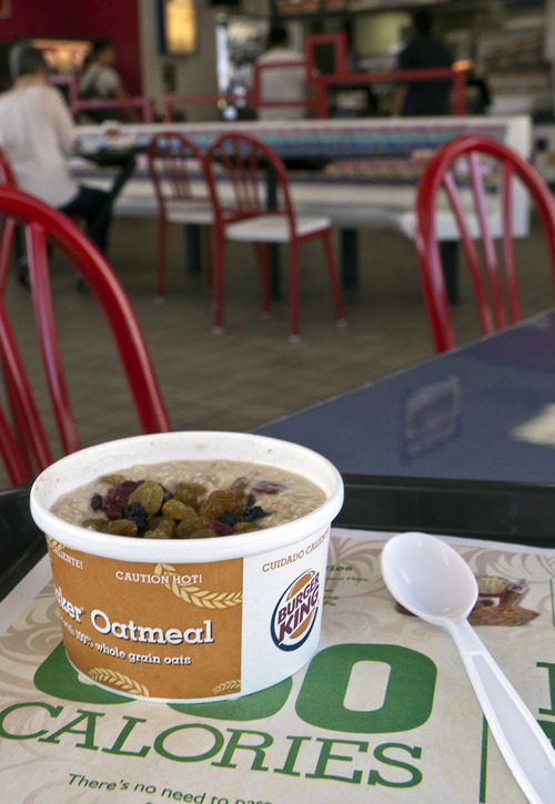 Damian Dovarganes  |  The Associated Press Burger King is adding oatmeal to its breakfast menu as the struggling fast-food chain tries to reinvent itself. The world's second-largest burger chain says the move balances out its menu to offer customers a healthier breakfast option.