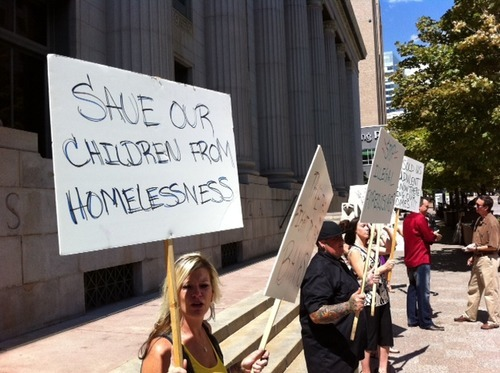 Trent Nelson | The Salt Lake Tribune  Homeowners facing foreclosure demonstrated Thursday ahead of the hearing in federal court to consider whether to allow a proposed class action lawsuit to go forward against Bank of America and ReconTrust.