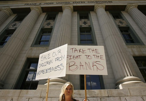 Trent Nelson  |  The Salt Lake Tribune Heidi Waldera was part of a rally held in front of the federal court house Thursday in Salt Lake City to call attention to foreclosures.