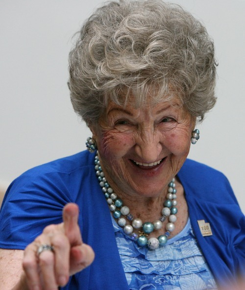 Steve Griffin  |  The Salt Lake Tribune  Erna Huck, of Salt Lake City, smiles as she recognizes a friend during the  25th Annual Centenarians Day celebration at the Multi Agency State Office Building ,in Salt Lake City, Utah Friday, August 26, 2011.