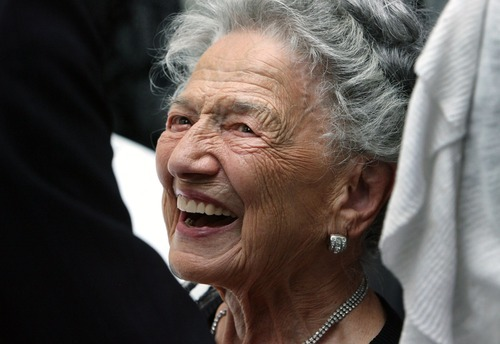 Steve Griffin  |  The Salt Lake Tribune  100-year-old Nora Delpiaz smiles as she talks with Utah Gov. Gary Herbert and First Lady Jeanette Herbert during the 25th Annual Centenarians Day celebration at the Multi Agency State Office Building in Salt Lake City, Utah Friday, August 26, 2011.