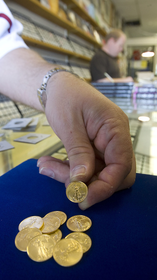 Al Hartmann  |   Salt Lake Tribune Gold prices are at an all time high and silver prices are soaring as well. Bob Campbell at All About Coins has a hard time keeping up with demand for Golden Eagle coins, especially the 1/10th-ounce coins seen here.