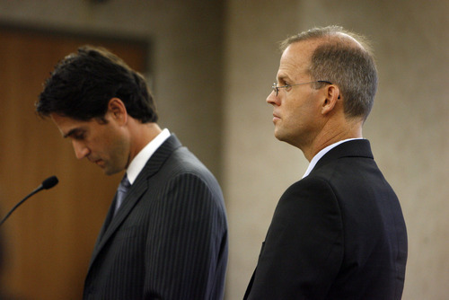 Francisco Kjolseth  |  The Salt Lake Tribune Provo Councilman Steve Turley, right, makes his first appearance in 4th District Court in Provo, alongside his attorney, former U.S. Attorney Brett Tolman, on fraud counts on Wednesday.