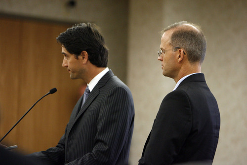 Francisco Kjolseth  |  The Salt Lake Tribune Provo Councilman Steve Turley, right, makes his first appearance in 4th District Court in Provo, alongside his attorney, former U.S. Attorney Brett Tolman, on fraud counts on Wednesday, Aug. 24, 2011.