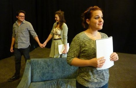 Courtesy photo Actors, from left: Alex Ungerman, Emily Burnworth and Emily Bell in rehearsal for