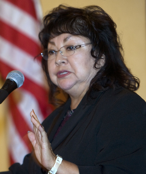 Al Hartmann  |  The Salt Lake Tribune Shirlee Silversmith, director of the Utah Division of Indian Affairs, speaks at the annual Native American Summit, a gathering of the Utah Indian tribes, in Salt Lake City on Tuesday.