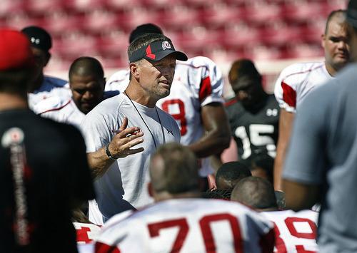 Scott Sommerdorf  |  The Salt Lake Tribune Utah head coach Kyle Whittingham speaks to the team after practice at Rice-Eccles Stadium on Aug. 12.