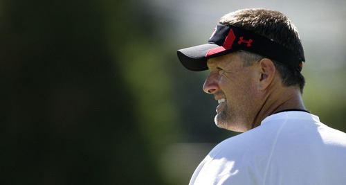 Scott Sommerdorf  |  The Salt Lake Tribune Utah head coach Kyle Whittingham watches his team practice on the Utah baseball field at the University of Utah Thursday, August 4, 2011.