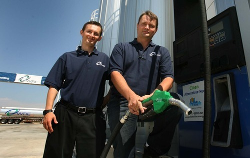 Leah Hogsten  |  The Salt Lake Tribune Brothers Isaiah, left, and Jacob Kingston co-own Washakie Renewable Energy, which produces 10 milion gallons of biofuel. The largest biodiesel producer in Utah, Washakie Renewable Energy held an open house in Plymouth on Thursday.