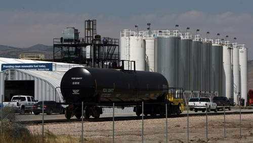 Leah Hogsten  |  The Salt Lake Tribune A newly placed rail line outside the WRE facility. Washakie Renewable Energy is the largest biofuel producer in Utah.