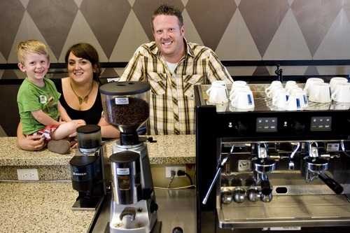 Djamila Grossman  |  The Salt Lake Tribune  Keslie and Tim Lyons and their son, Max, 3, at their coffee shop, the Dancing Yeti Coffee, in Draper on Wednesday, Aug. 31, 2011. The couple sold around 100 gift certificates on CityDeals.com but they have not been paid. The company's website was disabled Wednesday.