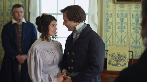 Joseph Smith (R. Dustin Harding, right) marries Emma Hale (Lindsay M. Farr) in a scene from