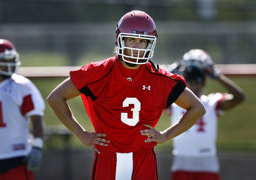 Scott Sommerdorf  |  The Salt Lake Tribune Utah QB Jordan Wynn during practice on the Utah baseball field at the University of Utah Thursday, August 4, 2011.