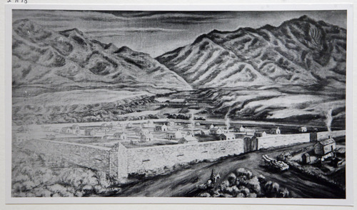 Francisco Kjolseth  |  The Salt Lake Tribune Fort Union and its surrounding walls in the Salt Lake Valley during the 1865-72 Black Hawk War.  Courtesy of the Utah Historical Society