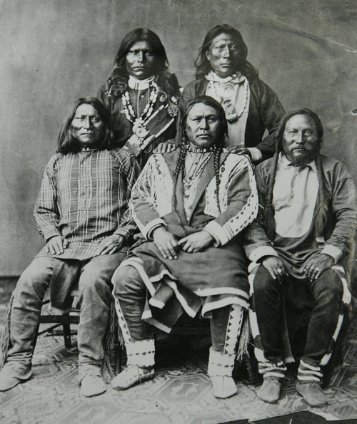 Courtesy of the Utah Historical Society Pictured are Chief Ouray, Ute Chieftain, and his sub-chiefs: Warets, Shavano Ankatosh, and Guero (Ouray in center front). Photo taken by William Henry Jackson while on a peace mission to Washington, D.C.