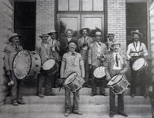 Francisco Kjolseth  |  The Salt Lake Tribune Pictured is the Black Hawk Veterans' Band. The date on the drum is Dec., 1865, the year the Black Hawk War began. Courtesty of the Utah Historical Society.