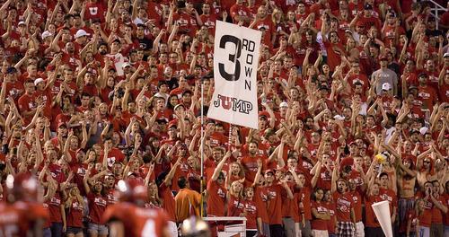 Scott Sommerdorf  |  The Salt Lake Tribune  Utah fans celebrate in the third quarter as Utah takes on Montana State at Rice-Eccles Stadium Thursday, Sept. 1, 2011.