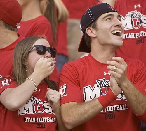 Trent Nelson  |  The Salt Lake Tribune  Utah fans watch as the game starts at Rice-Eccles Stadium Thursday, Sept. 1, 2011.