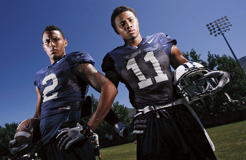 Francisco Kjolseth  |  The Salt Lake Tribune BYU receivers Cody Hoffman, left, and Ross Apo, aren't your typical BYU receivers as the team gets ready to start their regular season.