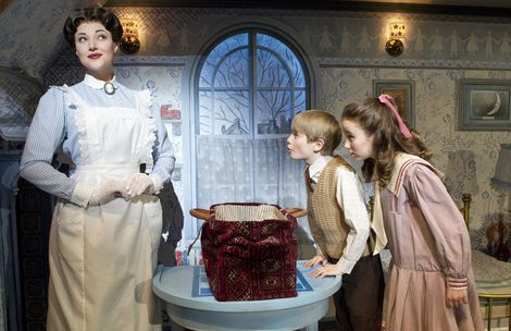 Joan Marcus  |  Disney/CML Steffanie Leigh as Mary Poppins, performs with Talon Ackerman as Michael Banks, and Camille Mancuso as Jane Banks in