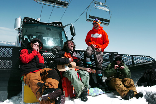 In this May 8, 2011 photo, members of the Frends crew, from left, Danny Davis, Luke Mitrani, Scotty Lago and Jack Mitrani pass the time before a day of filming the snowboarding documentary