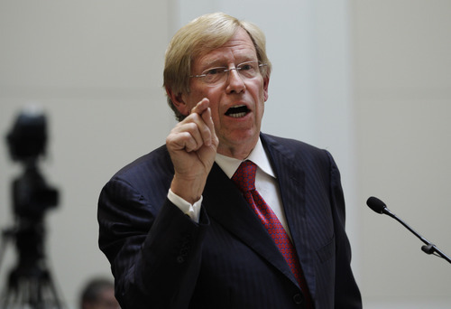 Attorney Theodore Olson speaks in a courtroom during a California State Supreme Court hearing in San Francisco on Tuesday, Sept. 6, 2011. On Tuesday, the California Supreme Court will be considering whether the sponsors of Proposition 8 have a legal right to appeal the federal court ruling that overturned the same-sex marriage ban, since the governor and attorney general refused to bring such an appeal. The 9th US District Court of Appeals, which has main responsibility for the case on appeal, asked the state court to weigh in on the question it deals with the state's ballot initiative process. (AP Photo/Paul Sakuma)