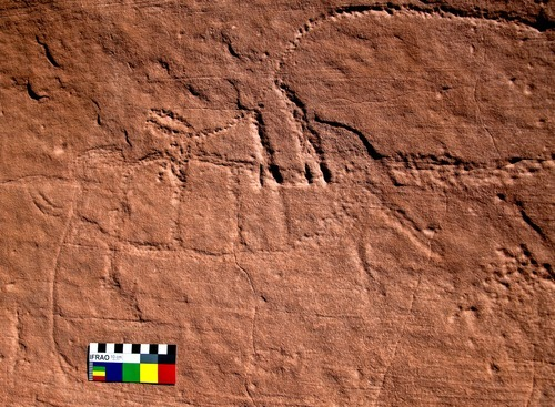 These photos of petroglyphs in Upper Sand Island near Bluff, Utah, are believed to depict mammoths and could be the only known rock art in North America to show long-extinct Ice Age megafauna. Photo by Henry Wallace.