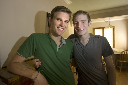 Paul Fraughton  |  The Salt Lake Tribune   Eric Hamren, left, and his partner, Jakob Crawford, are one of the 1,290 same sex couples living in Salt Lake City.   Friday, September 2, 2011