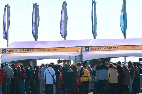 Tribune file photo Spectators lined up at venues, such as the Utah Olympic Oval in Kearns, waiting to pass through magnetometers as enhanced security precautions were implemented at Salt Lake City's Olympics, the first major international event after the Sept. 11 terrorist attacks. The 2002 Winter Games came off without a major incident.