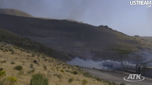 ATK test fired a five-segment solid rocket motor designed for NASA at their Promontory, Utah, facility on Thursday. (ATK)