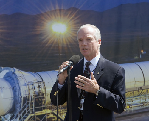 Al Hartmann  |  The Salt Lake Tribune  ATK's Vice President Charlie Precourt welcomes guests and employees of ATK and NASA to the Promontory facility west of Brigham City to watch ATK test fire a DM-3 rocket motor Thursday September 8.