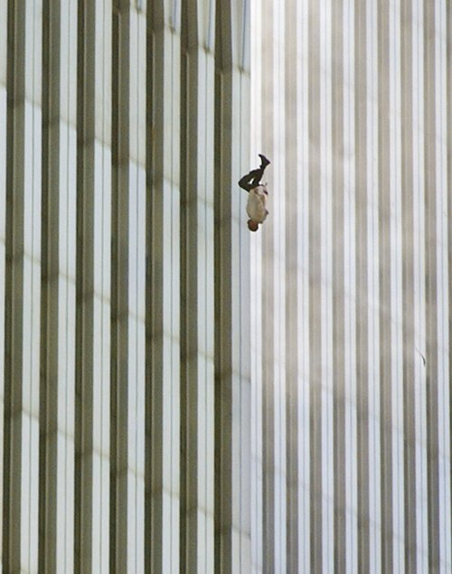 A person falls headfirst from the north tower of New York's World Trade Center Tuesday, Sept. 11, 2001. (Richard Drew/The Associated Press)