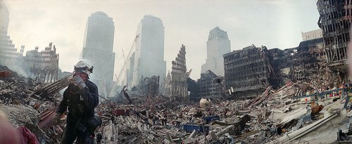 Rescue workers continue their efforts Monday, Sept. 24, 2001, at the site of the Sept. 11 World Trade Center terrorist attack in New York. (Ted S. Warren/The Associated Press)