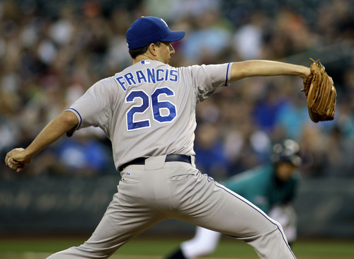 Kansas City Royals starting pitcher Jeff Francis throws against the Seattle Mariners in the first inning of a baseball game, Friday, Sept. 9, 2011, in Seattle. (AP Photo/Ted S. Warren)